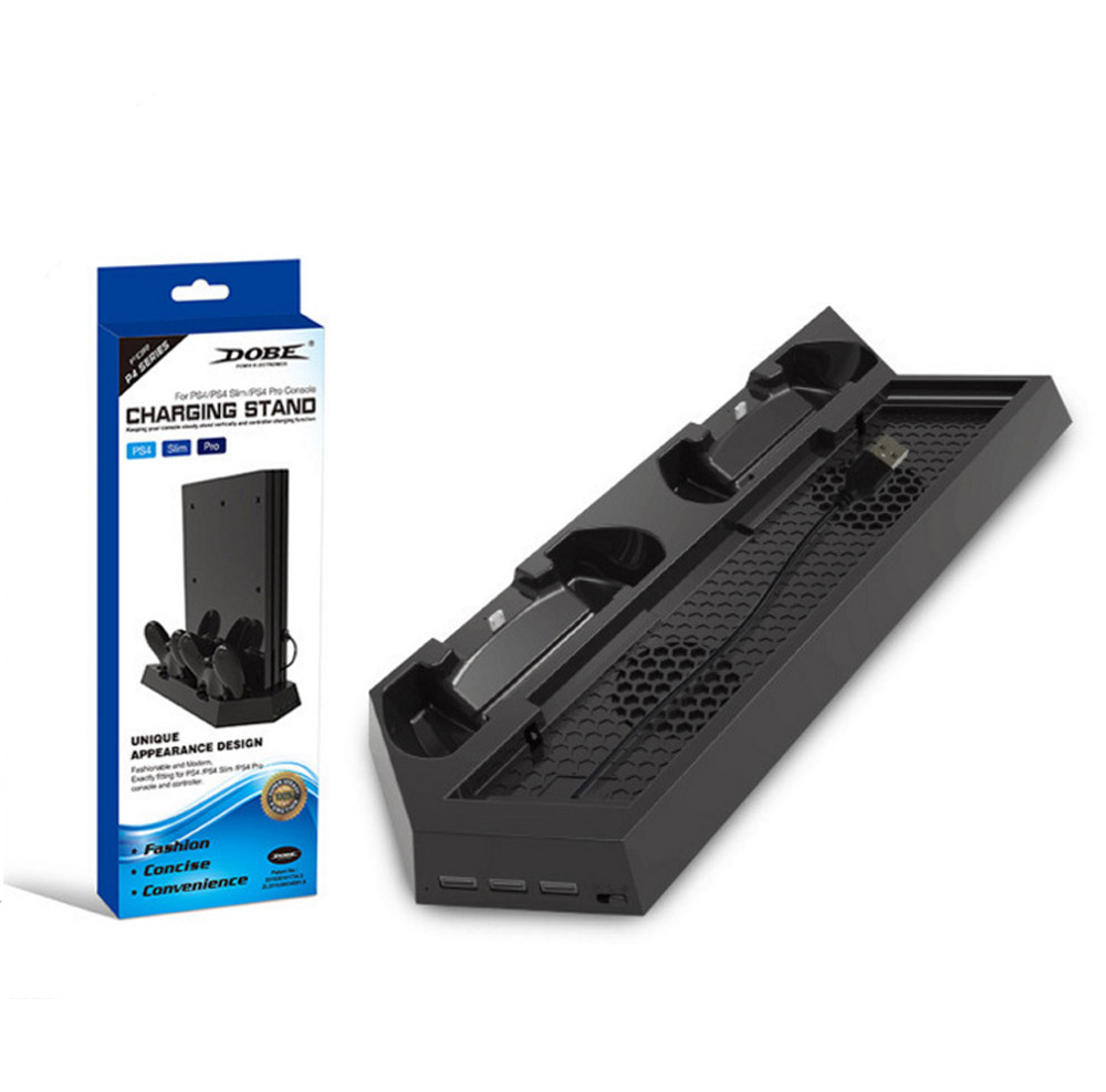 PS4 / PS4 Pro / PS4 Slim Dual Controller Charging Station with Cooling Fan for Playstation 4 Dualshock 4 Pro Game Console