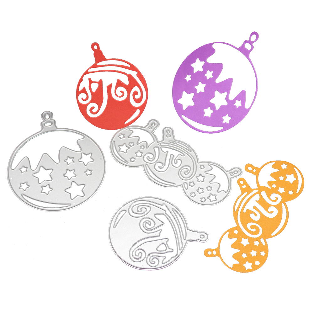 3pcs Christmas Ball Metal Cutting Die Stencil Carboon Steel Template for Scrapbooking Card Album Craft Decoration Supplies