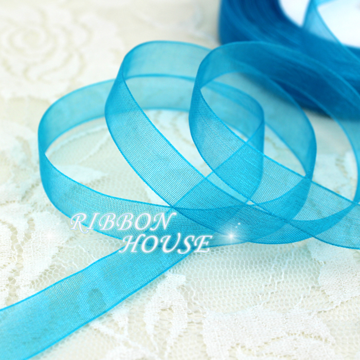 (50 yards/roll) 1/2''(12mm) lake blue organza ribbons wholesale gift wrapping decoration Christmas ribbons