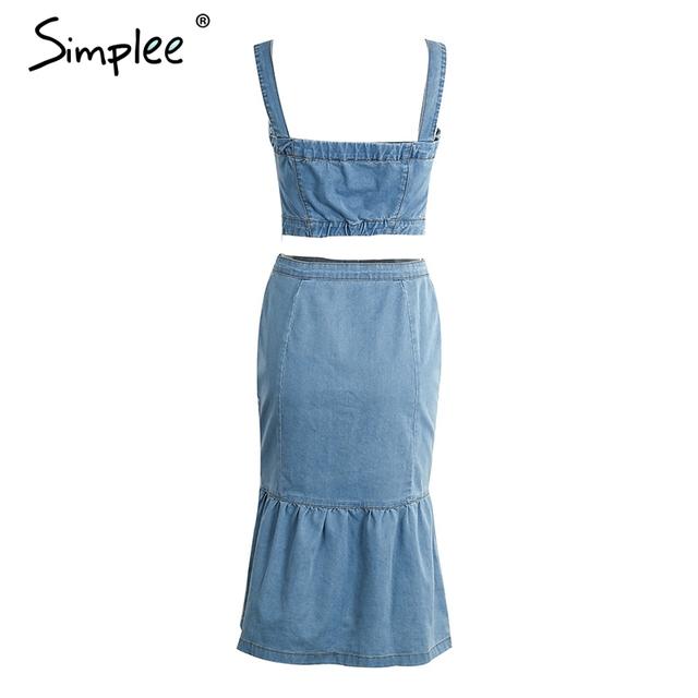 Simplee Sexy summer denim dress suit women Strap button crop top mermaid dress Casual streatwear two-piece set dress vestidos