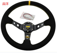 Top racing sports 14 OMP Steering Wheel OMP Suede Leather Steering Wheel Deep Dish Racing Sport Steering Wheel