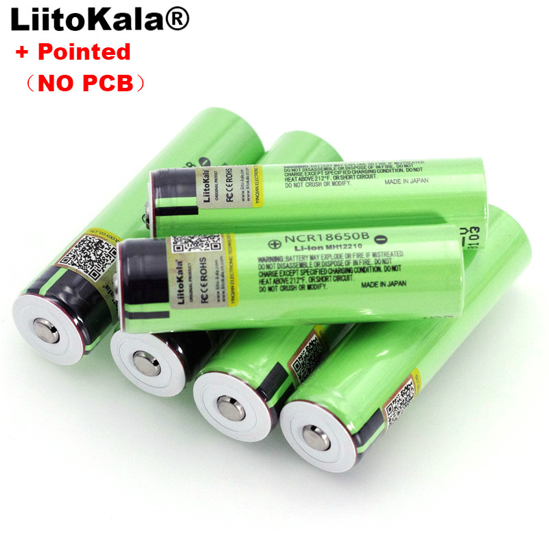 Liitokala new NCR18650B 3.7v 3400 mAh 18650 Lithium Rechargeable Battery with Pointed (No PCB) batteries-in Replacement Batteries from Consumer Electronics