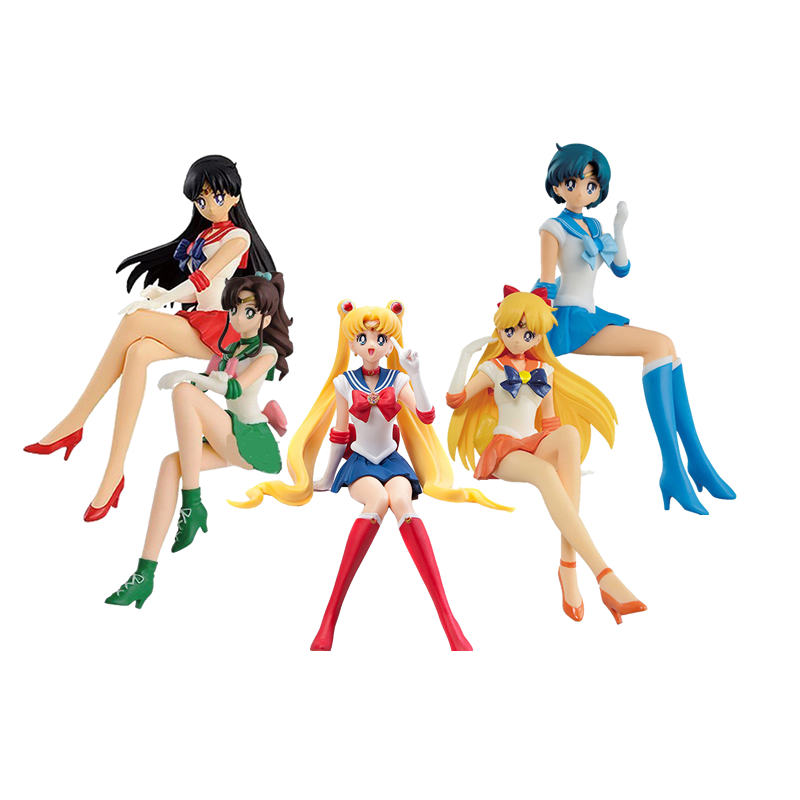 5 Styles 12cm Sailor Moon Figure Mercury Jupiter Mars Pretty Guardian PVC Action Figure Toys Brinqued gift for girlfriend no box