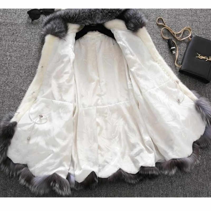 가짜 모피 코트 여성 2019 가을, 겨울 밍크 코트 폭스 모피 칼라 후드 자켓 플러스 사이즈 6xl 탑 모피 코트 여성 okxgnz 1751
