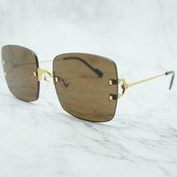 Rinless Sunglass Men Metal Big C Carter Sunglasses Mens Accessories Luxury Brand Designer Shades Gafas De Sol Mujer Sun Glasses
