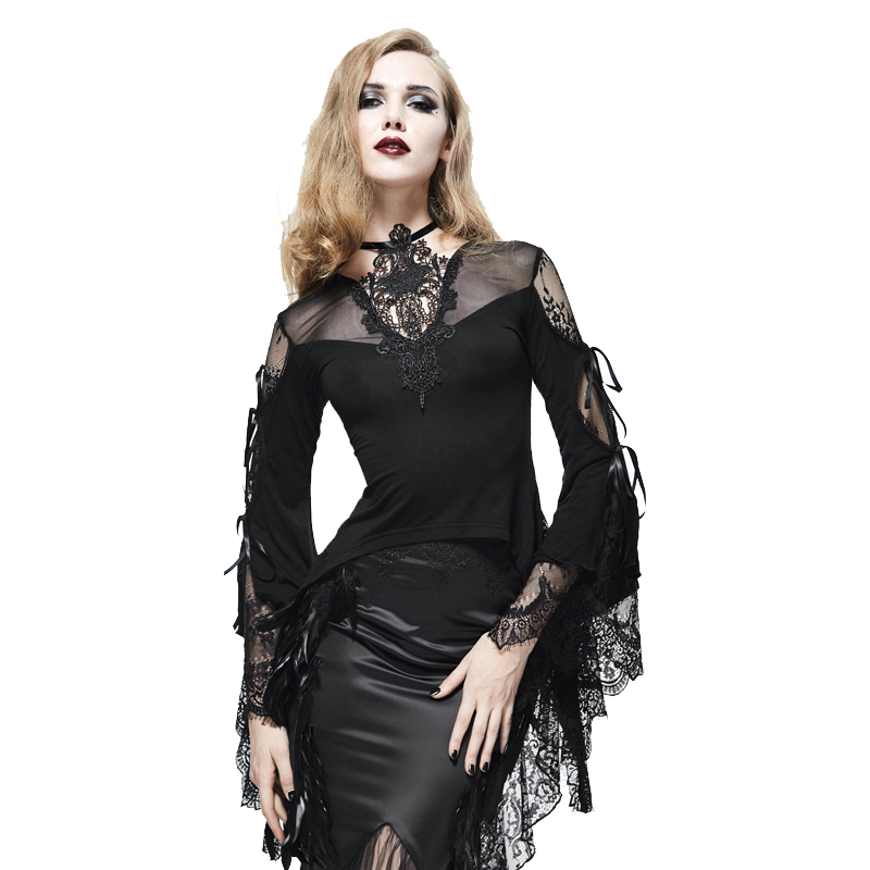 EVA LADY Gothic T shirt Women Black Lace Top Tees Vintage Bandage See Through T shirts Flare Sleeve Palace Court Top Tees