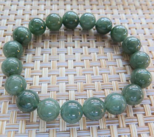 High Quality New Grade A Jadeite Jade Bead 9-10mm Green Beads Link Man &Woman's Lucky Bracelet