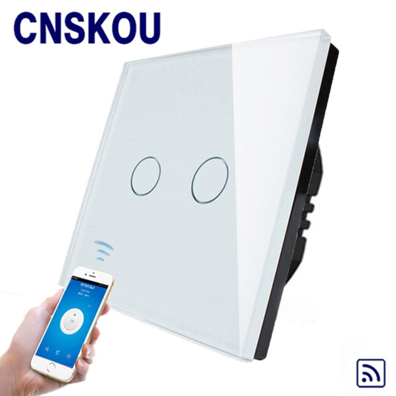 Cnskou Manufacturer Wifi Touch Switch, LED Light Wall Smart Home Remote Control Switch,2 Gang 1 Way Luxury Glass Panel funry st2 us remote control touch switch 1 gang 1 way glass panel smart wall switch for home automation free shipping