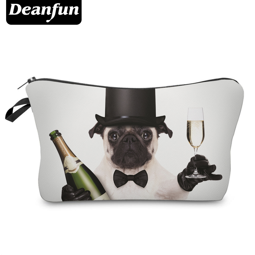 Deanfun Cosmetic Bags 3D Printed Bowtie Pug Women Toiletry Organizer For Travelling  50904