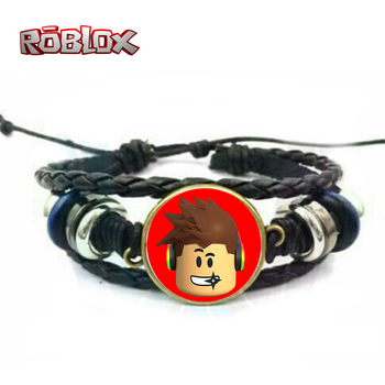 OHCOMICS Hot Anime Game Roblox Leather PU Black Red Adjustable Wristband Bracelet Hand Chain Costume Pendants