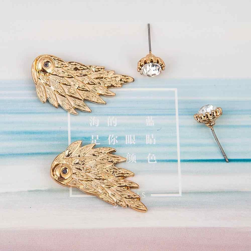 Pendientes de aleación de diamantes de imitación con alas de Ángel para mujeres góticas chapadas en oro negro