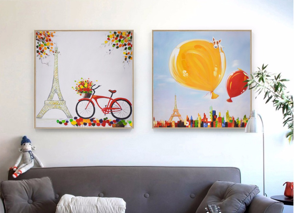 Cartoon romantic landscape decoration combination oil paintings 2 pieces painted on canvas Unframed wall pictures wall art