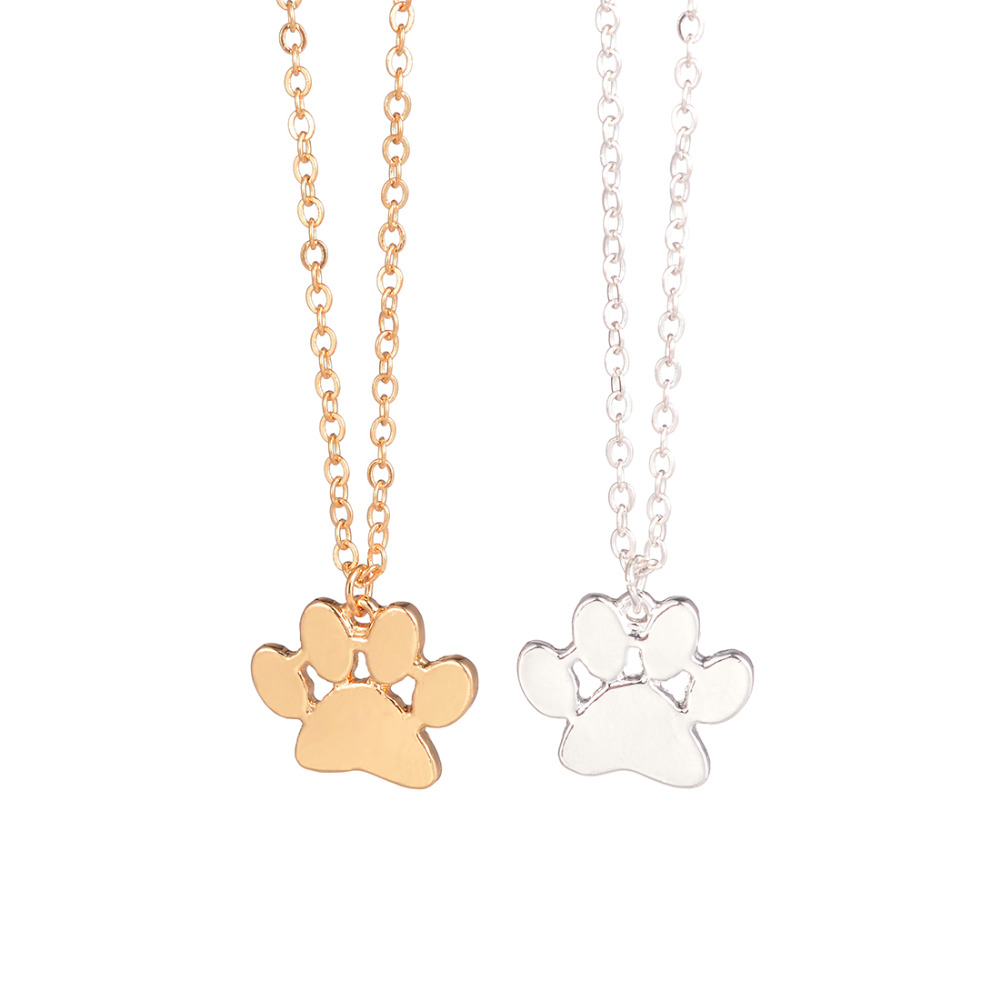 necklace pendant dog animal plated puppy print jewelry bling oa gold rose paw