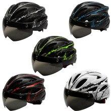 2019 Mountain Bike Helmet EPS+PC Bicycle Man MTB Matte Black Cycling Helmets Mens Women Magnetic Goggle Lens Removable