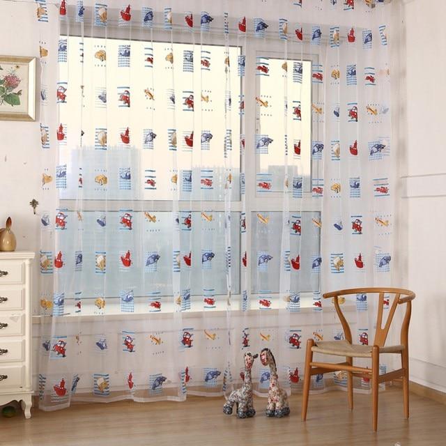 kid kids machine pattern voile panels clean room door Drape curtains ...