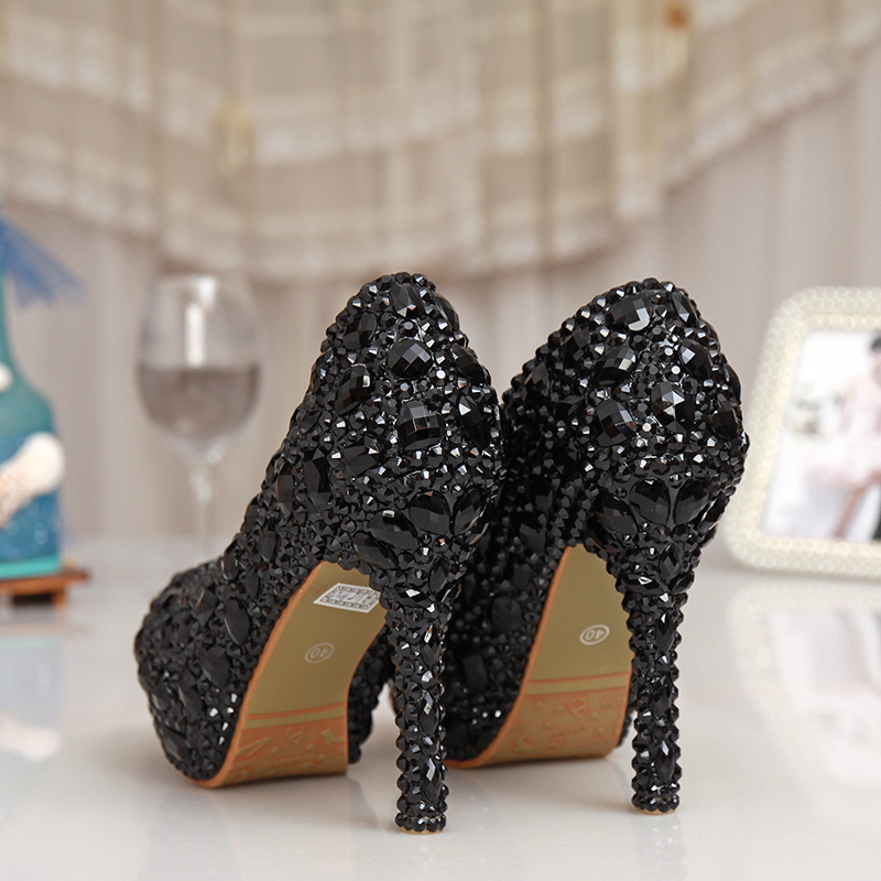 Wedding Pumps Platform Rhinestone Bling Dress Prom Shoes Black Rhinestone  Crystal Bridal Shoes Women Evening Party Dress Shoes-in Women s Pumps from  Shoes ... f49f9795f488