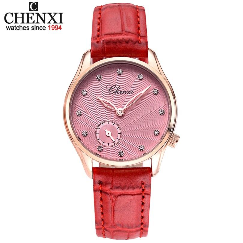 Fashion Simple Design Women Quartz-Watches CHENXI Brand Luxury Clock For Ladies Leather Strap Quartz Wrist Watches Female Watch