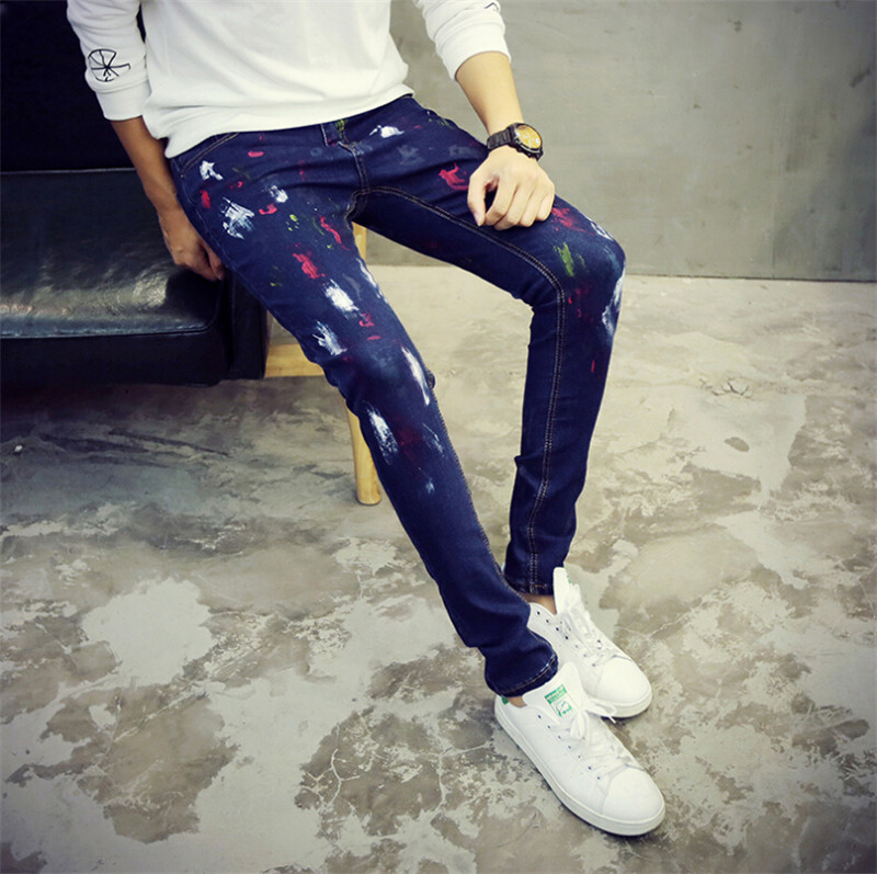 2015 High Quality New European jeans for men printed jeans slim fit casual blue trousers moto