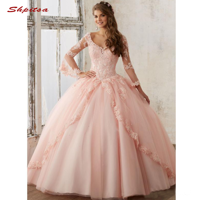 Pink Long Sleeve Lace Quinceanera Dresses Ball Gown Tulle Prom Debutante Sixteen 15 Sweet 16 Dress vestidos de 15 anos-in Quinceanera Dresses from Weddings & Events    1
