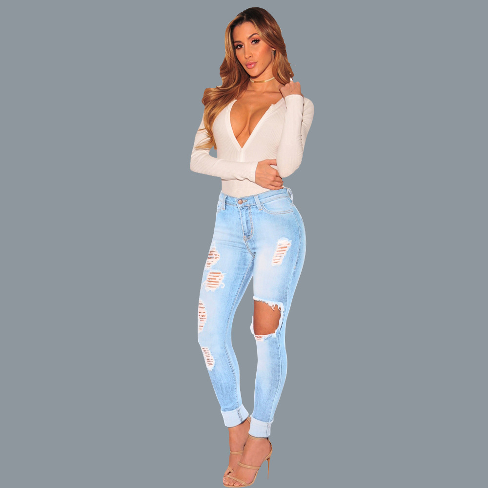 Hot style lady ripped jeans 4