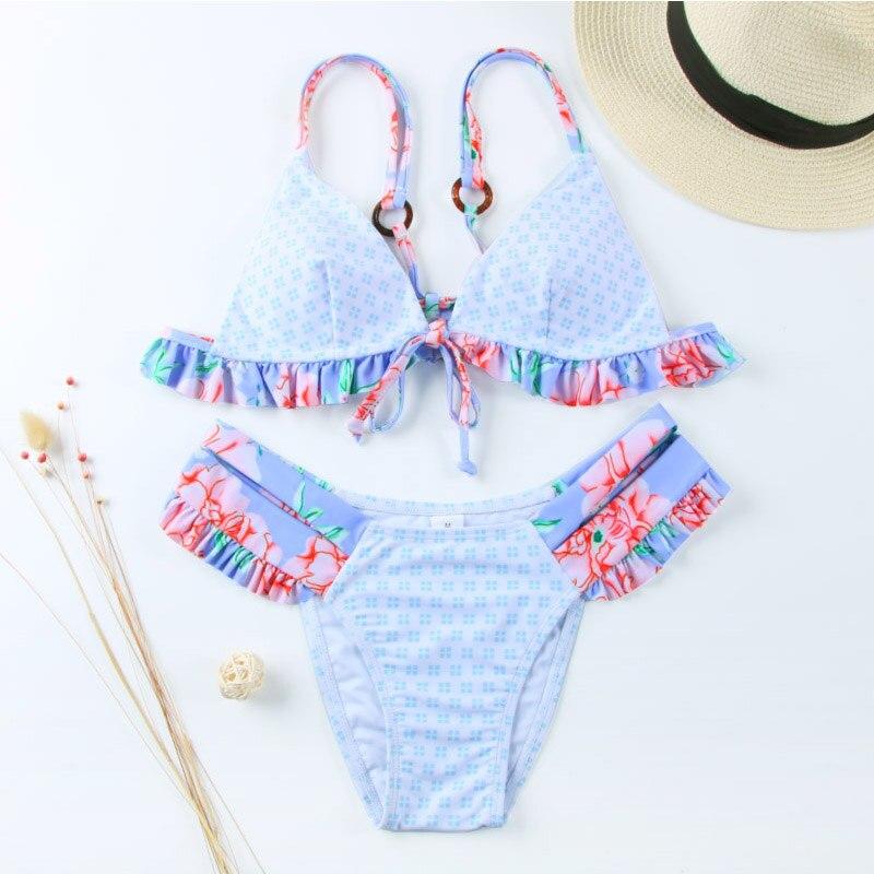 Miyouj Floral Bikini Bandage Bow Swimsuit Push Up Swimwear Women Print Biquini Feminino 2018 Bathing Suit Monokini Bikini Set
