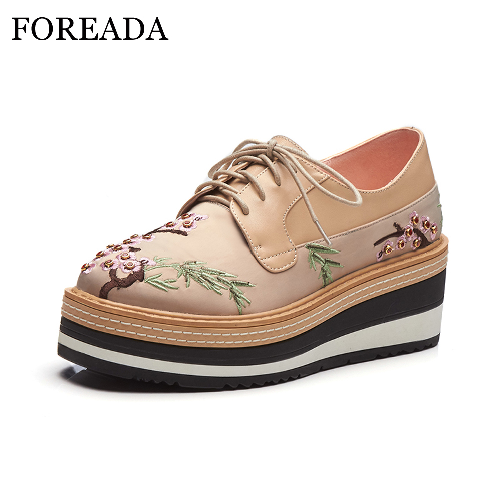 FOREADA Women Genuine Leather Shoes Embroider Platform Wedges Pumps High Heels Shoes Spring Lace Up Square Toe Sewing 2018 Shoes 3 inch autumn horsehair platform square toe creepers high heels yellow ladies green wedge shoes genuine leather wine red pumps