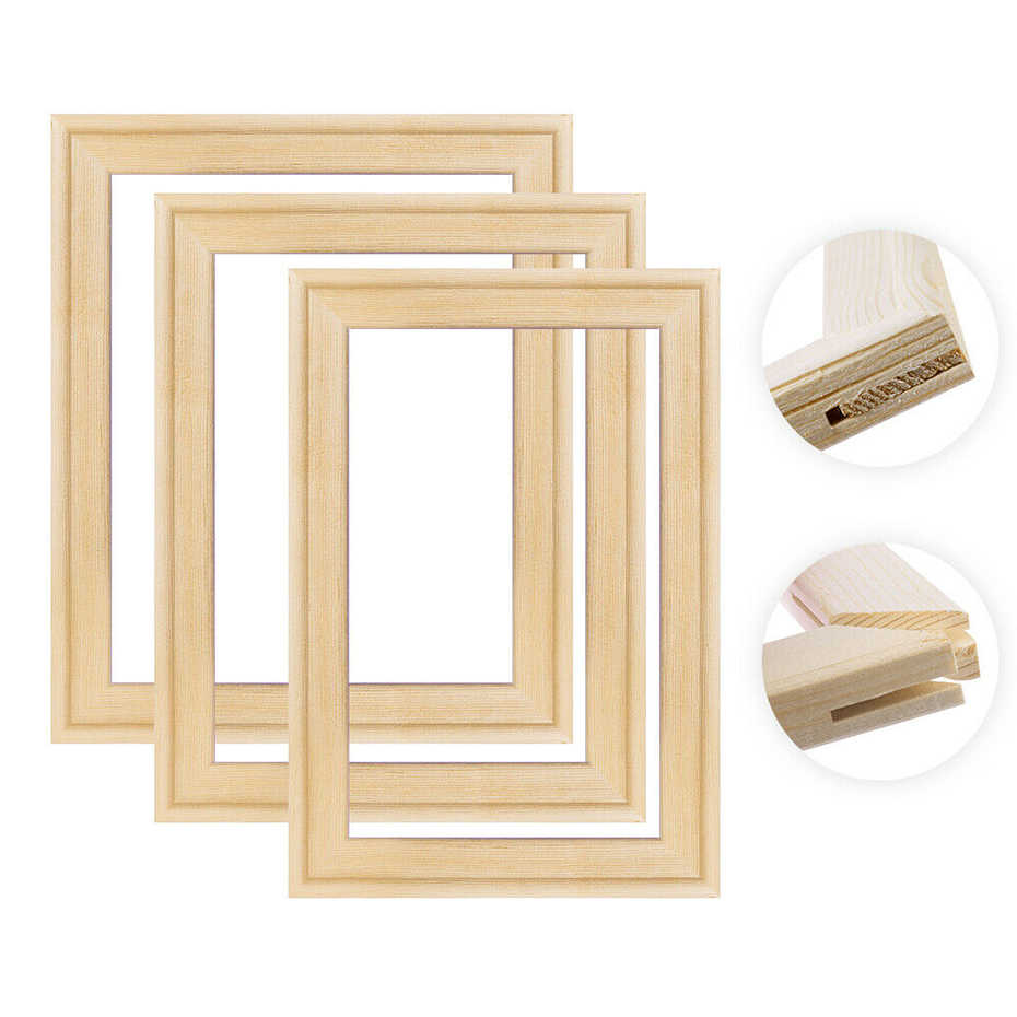 DIY Natural Solid Pine Wood Pictures Frame for Diamond Painting Inner Frames Match for Canvas Wall Art Stretching Paintings
