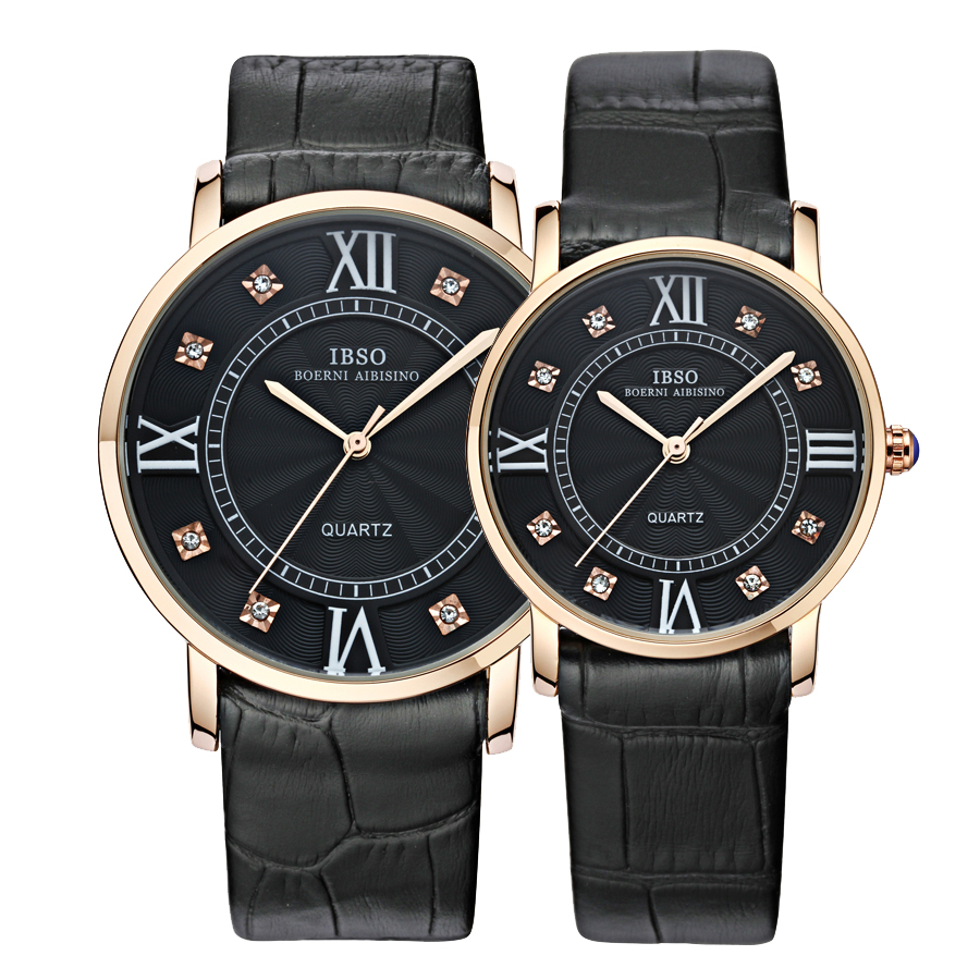 bc76b32f526e Mens Watches Top Brand IBSO Luxury Lovers Quartz Watch Sports Watch Men  Business Leather Bracelet Women Wristwatch-in Lover s Watches from Watches