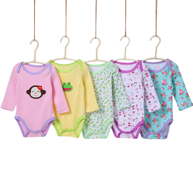 14a6b76d2 Cootton Clothes 5 Pieces Packs Newborn Baby Bodysuits 0 24m Cute ...
