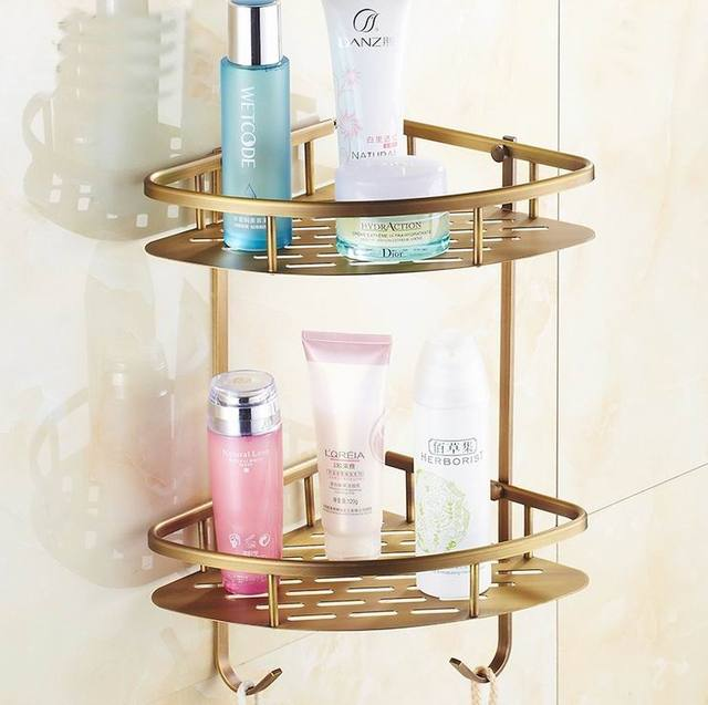 Free Shipping High Quality Antique Brass Bathroom Shelves 2 Tier Bathroom  Storage Basket Wall Mount