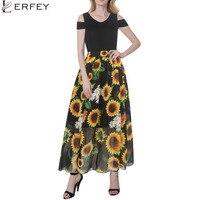 LERFEYWomen Yaz Rahat Ayçiçeği Elbise Kapalı Omuz Elbise Gevşek Uzun Patchwork Kollu Elbiseler Vestidos