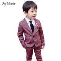 2018 New Boy Formal suits flower boys clothing sets children Wedding suits boys Blazer jacket Pants 2Pcs piano party clothes N52