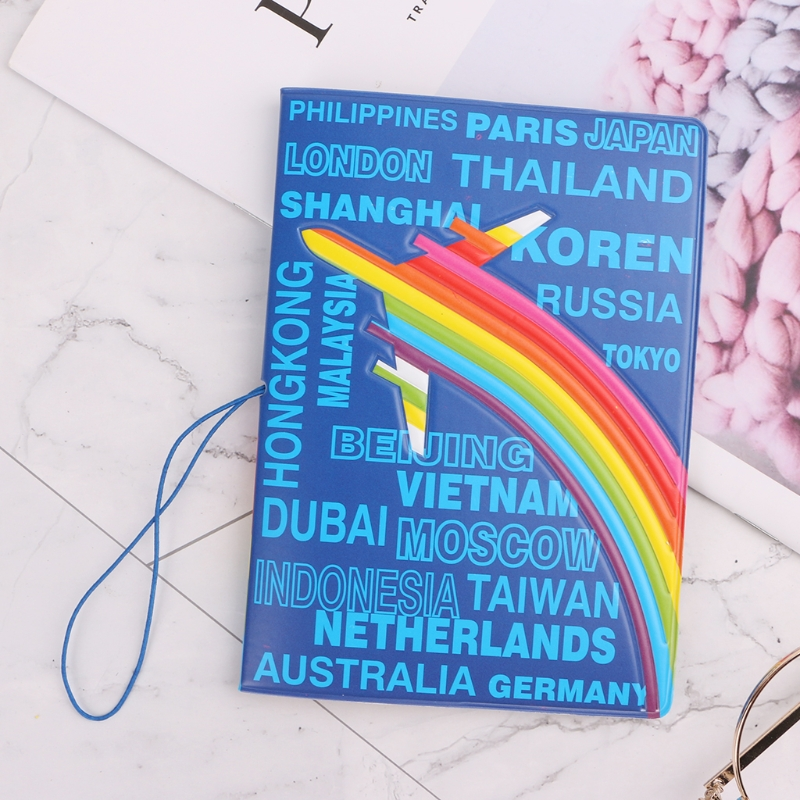 THINKTHENDO Aircraft Place Name Passport Holder Organizer Travel Card Case Document Cover image