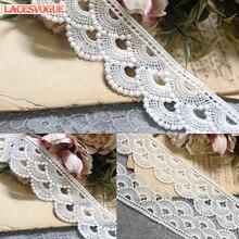 19 yardas 3,5 cm tela de encaje bordado costura Patchwork DIY accesorios hechos a mano vestido borde decoración 430