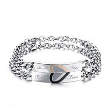 Sale 1pc Love Sweet Gift Ti Stainless Steel Jigsaw Puzzle Lovers Couple Bracelet Bangles For Men Women(China)