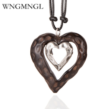 WNGMNGL 2018 Vintage Choker Woman Necklace New Fashion Jewelry Wooden Heart Pendant Long necklace for Women collares mujer