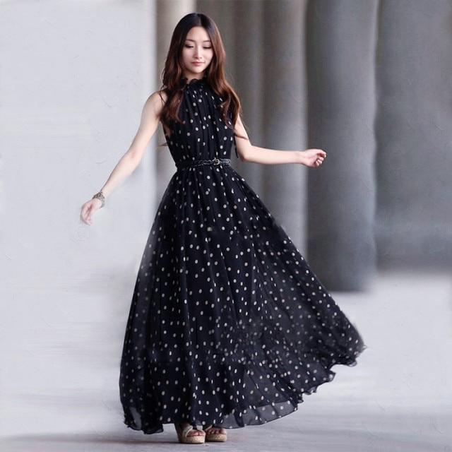 2016 Fashion Women's polka dots Maxi Dress Sleeveless long Casual ...