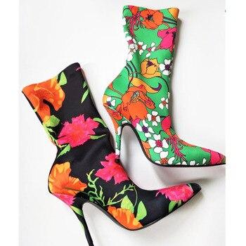 Tela Floral Morada | Jakakye, Púrpura Con Flores, Satén, Terciopelo, Mujeres, Calcetín, Botas Puntiagudas, Botas De Media Pantorrilla, Botas De Tacón Alto Para Mujeres, Zapatos Stiletto