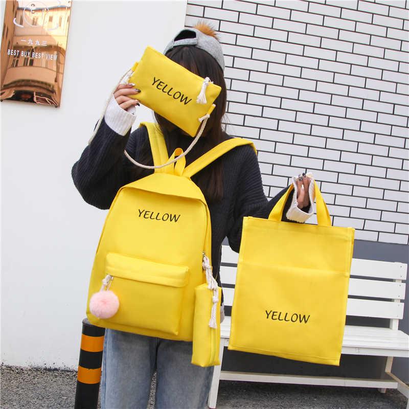 4 шт./компл. холщовый женский рюкзак для девочек на плечо мини-буква узор рюкзак сумка на плечо женский рюкзак Набор Sac Mochila