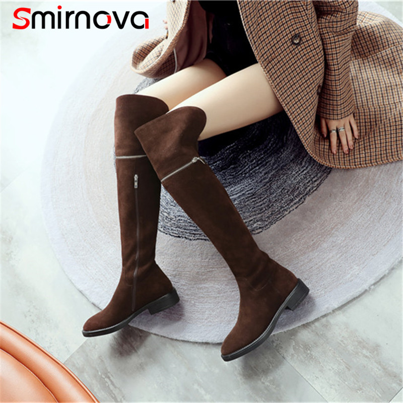 Smirnova HIGH quality winter shoes ladies 2018 casual med heels thigh boots cow suede leather boots