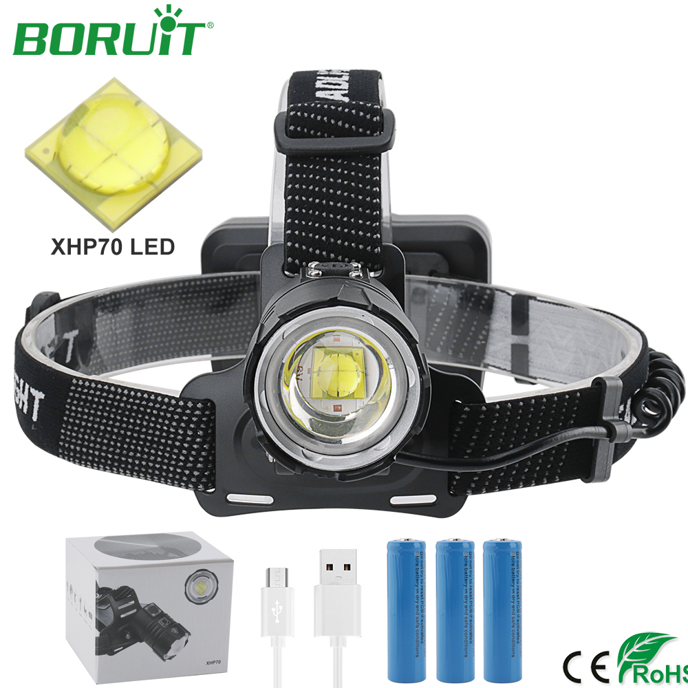 BORUiT High Power LED Head Torch XHP70 Headlamp Flashlight Zoomable Rechargeable Lantern Waterproof Camping Hunting Head Light