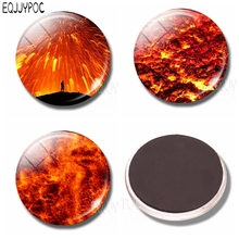 Volcanic Eruptions Fridge Magnet Whiteboard Red Magma Beautiful Natural Scenery 30MM Glass Dome Magnetic Refrigerator Stickers стоимость