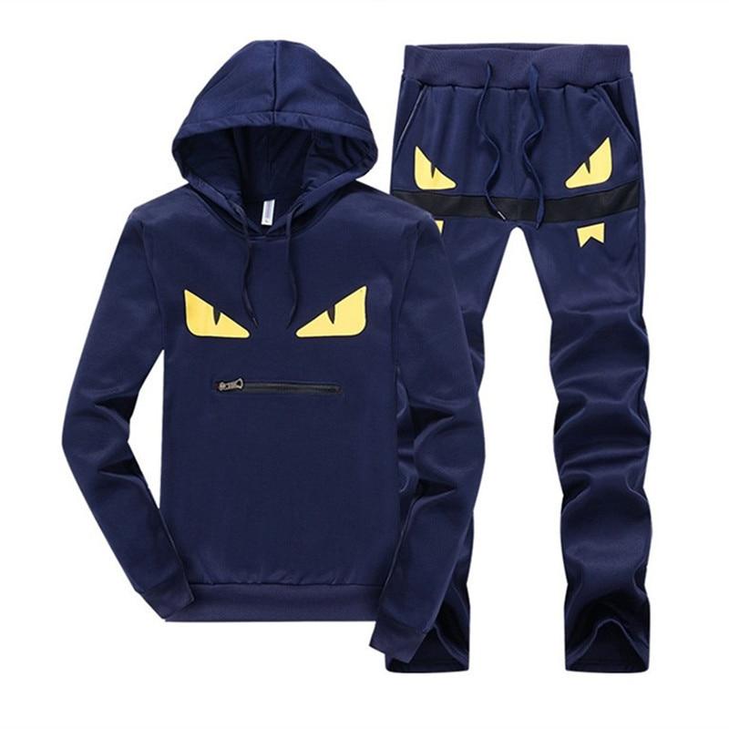 Cotton Men Tracksuit Sportwear Two Piece Sets Hot Autumn Pullover Hoodies + Pants Suit Male Hoodies Set Printing Sweatshirts