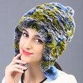 2015 otoño invierno Super caliente del invierno mujer conejo auténtica Rex orejeras de piel de conejo Rex casquillo de la señora Tshow pelo sombrero de piel de la cinta banda
