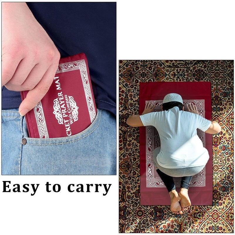 Image 4 - Tapete de Oração Muçulmano Viagem portátil À Prova D Água  Compass Bolso Carry Bag Presentes Ramadan Rezando Tapete Esteira de  Acampamento Do Piquenique 60*100Esteira de acampamento