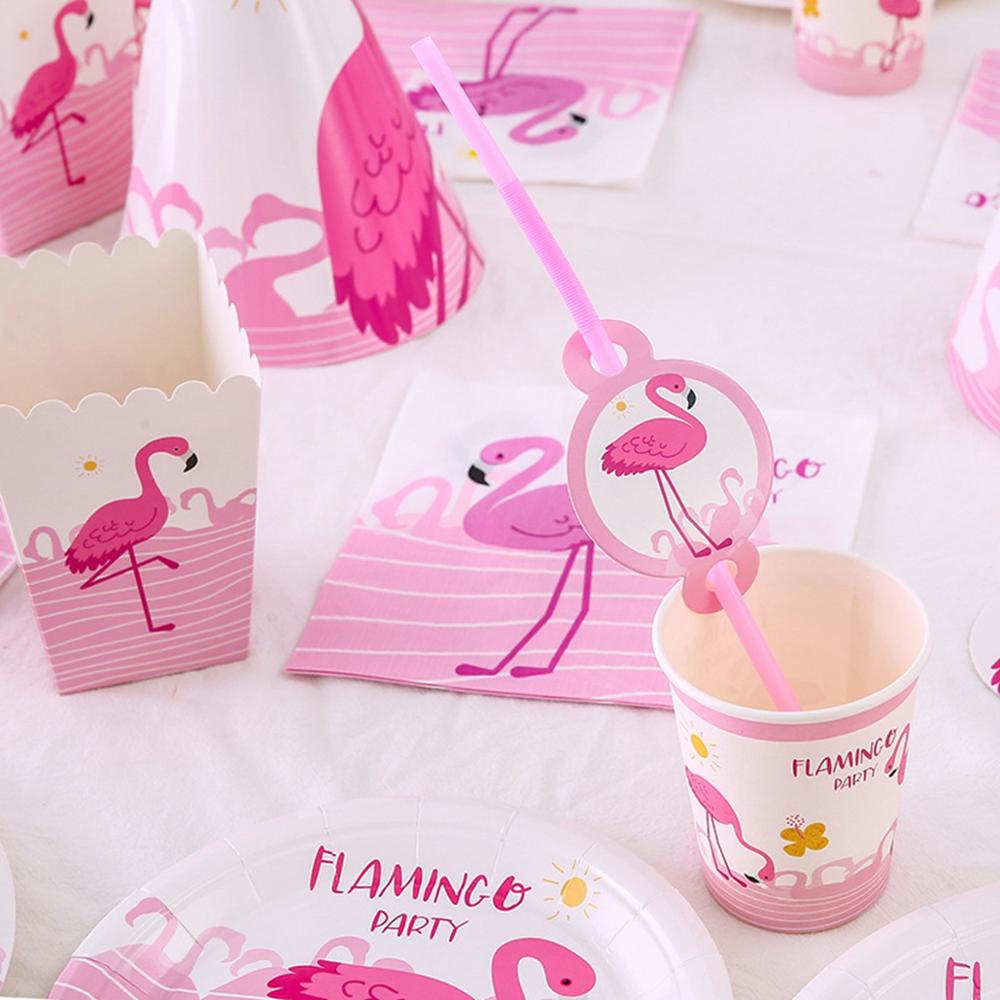 FENGRISE Pink Flamingo Decoration Birthday Hawaii Party Tropical Summer Party Hawaiian Wedding Decoration Disposable Tableware in Party DIY Decorations from Home Garden