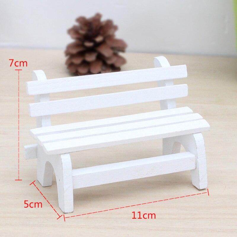 Мини Белый скамейка садовая микромир озеленение декоративные деревянные украшения Террариум Moss Декор DIY аксессуары
