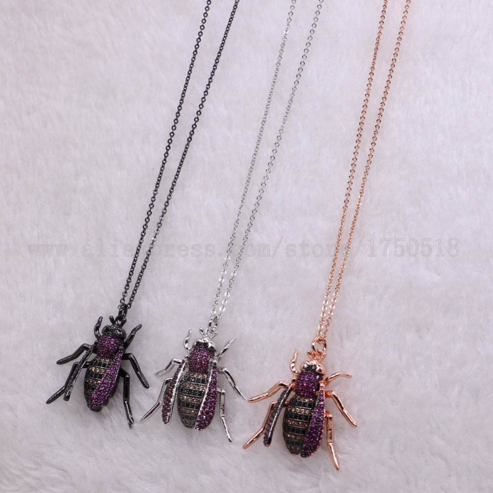 <font><b>5</b></font> strands Insects bugs pest pendants necklace for lady Bee pendants big size bee jewelry mix color necklace pets beads <font><b>2690</b></font> image