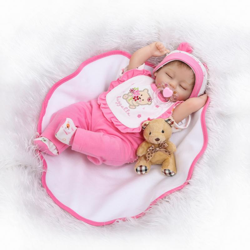 Nicery 18inch 45cm Reborn Baby Doll Magnetic Mouth Soft Silicone Lifelike Girl Toy Gift for Children Christmas Pink Clothes new year merry christmas gift 18 american girl doll with clothes doll reborn silicone reborn baby doll our generation doll