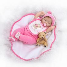 Nicery 18inch 45cm Reborn Baby Doll Magnetic Mouth Soft Silicone Lifelike Girl Toy Gift for Children Christmas Pink Clothes